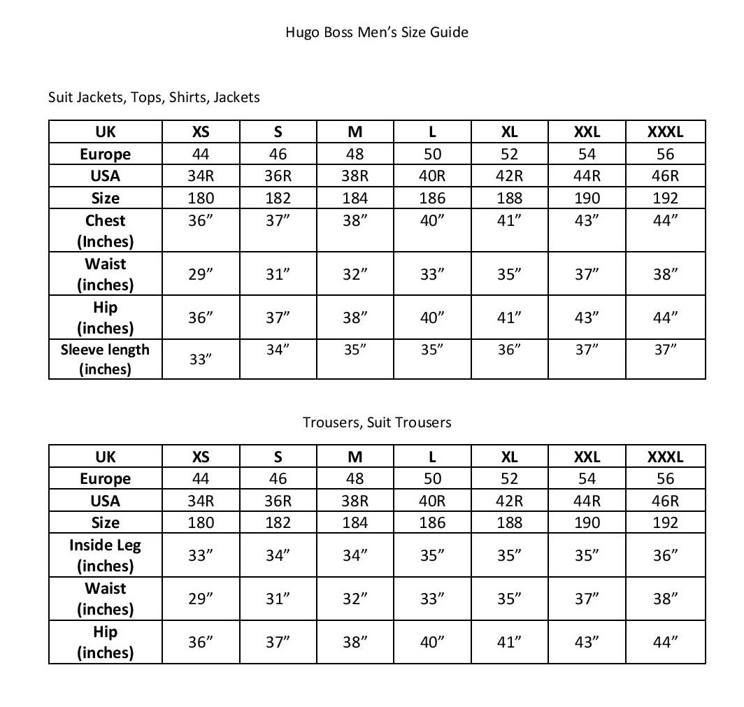 hugo boss sizes