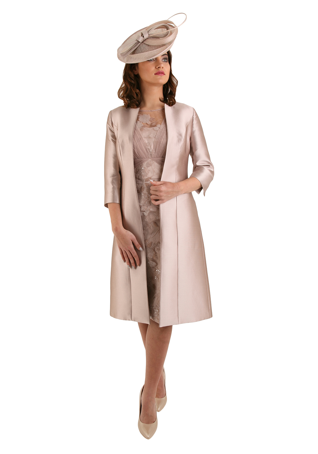 John Charles Embroidered Dress & Silk Blend Coat, Vintage Rose