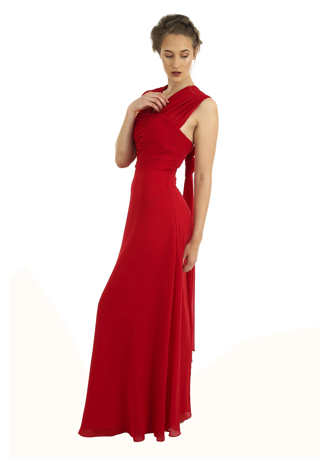 Boutique Ruched Bodice Full Length Gown, Red
