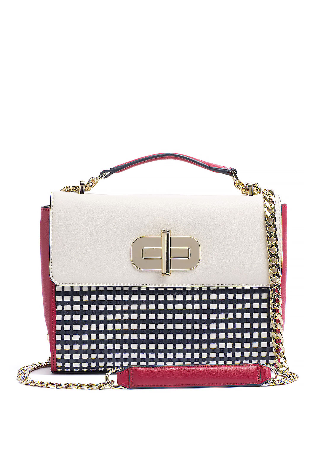 Tommy Hilfiger Turn Lock Woven Crossbody Bag, Multi-Coloured
