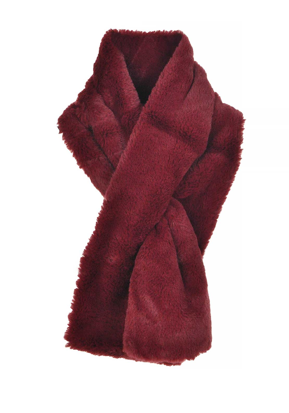 Boutique Collection Faux Fur Soft Scarf, Wine