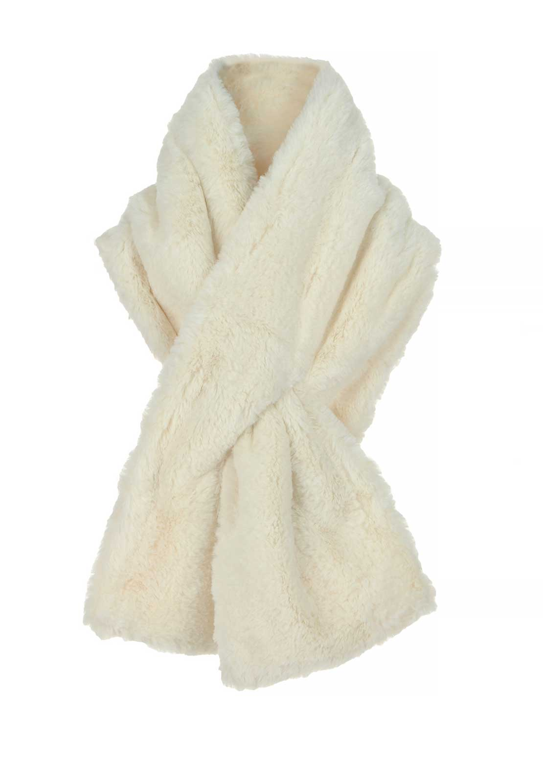 Boutique Collection Faux Fur Soft Scarf, White