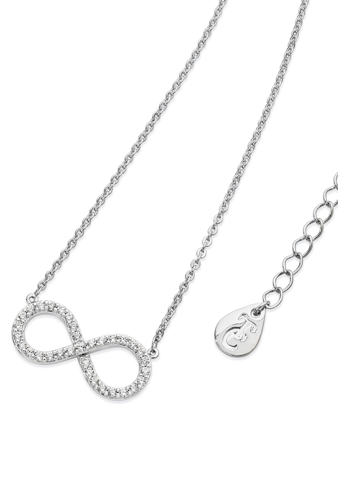 Tipperary Crystal 8 Shape Infinity Necklace, Silver