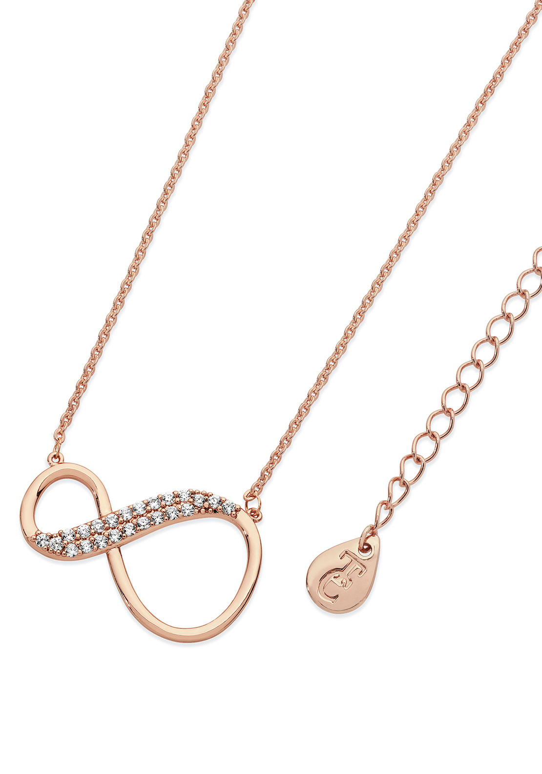 Tipperary Crystal 8 Shape Infinity Necklace, Rose Gold