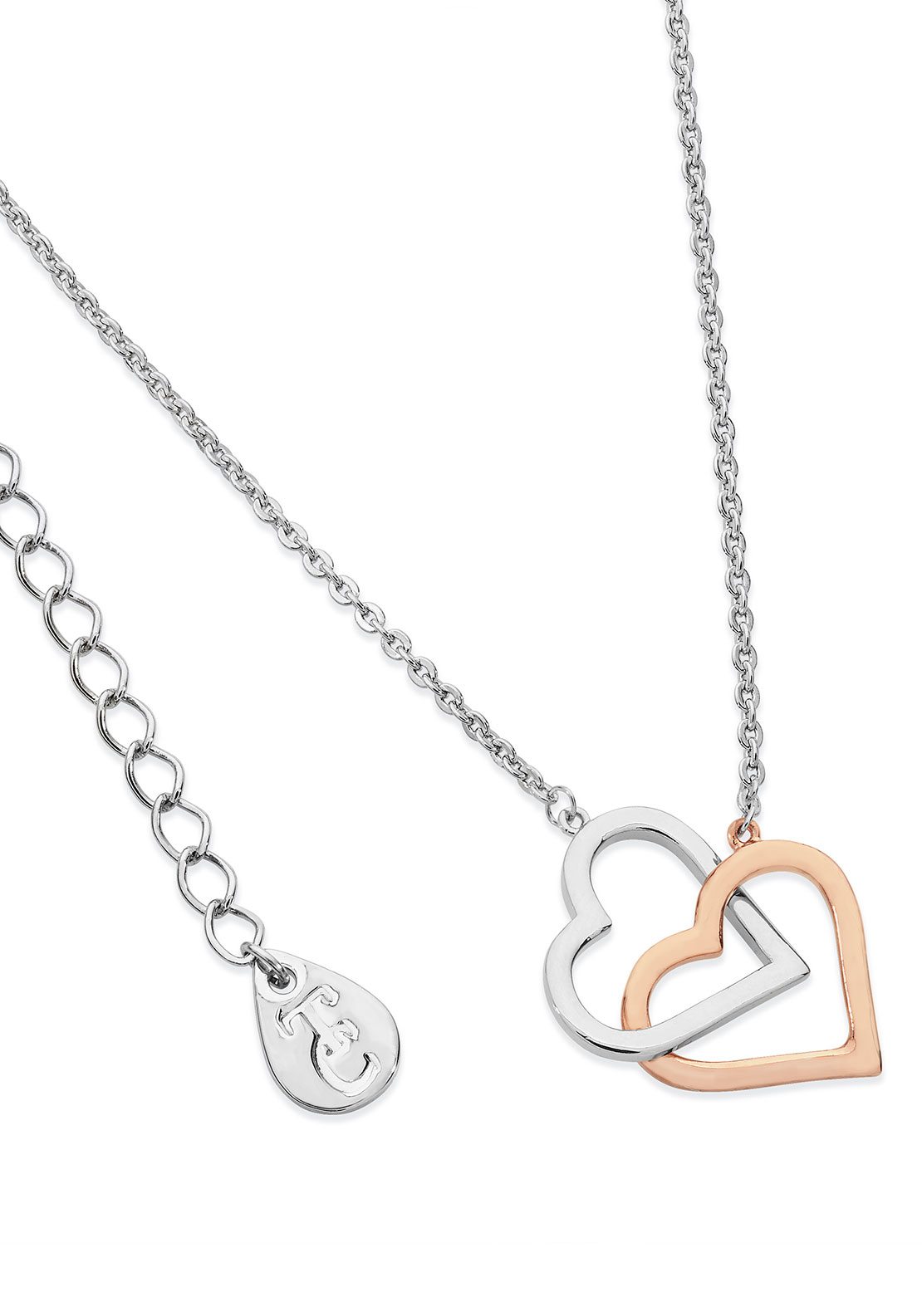 Tipperary Crystal Interlinked Heart Necklace