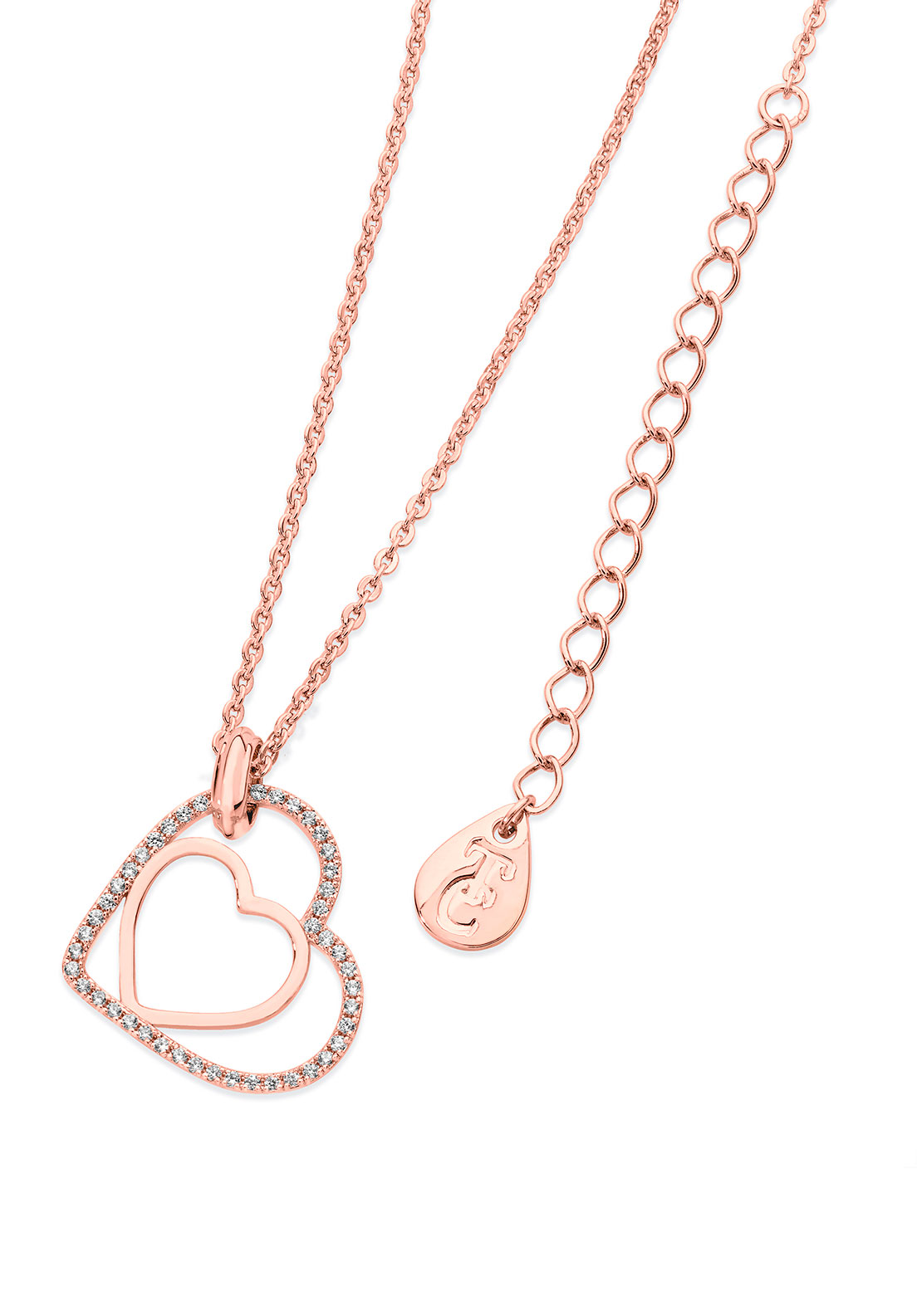 Tipperary Crystal Floating Heart Necklace, Rose Gold