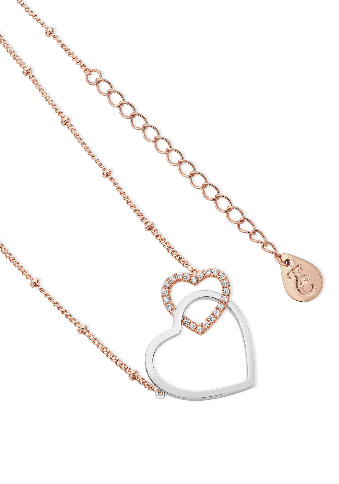 Tipperary Crystal Sparkling Interlinked Hearts Necklace