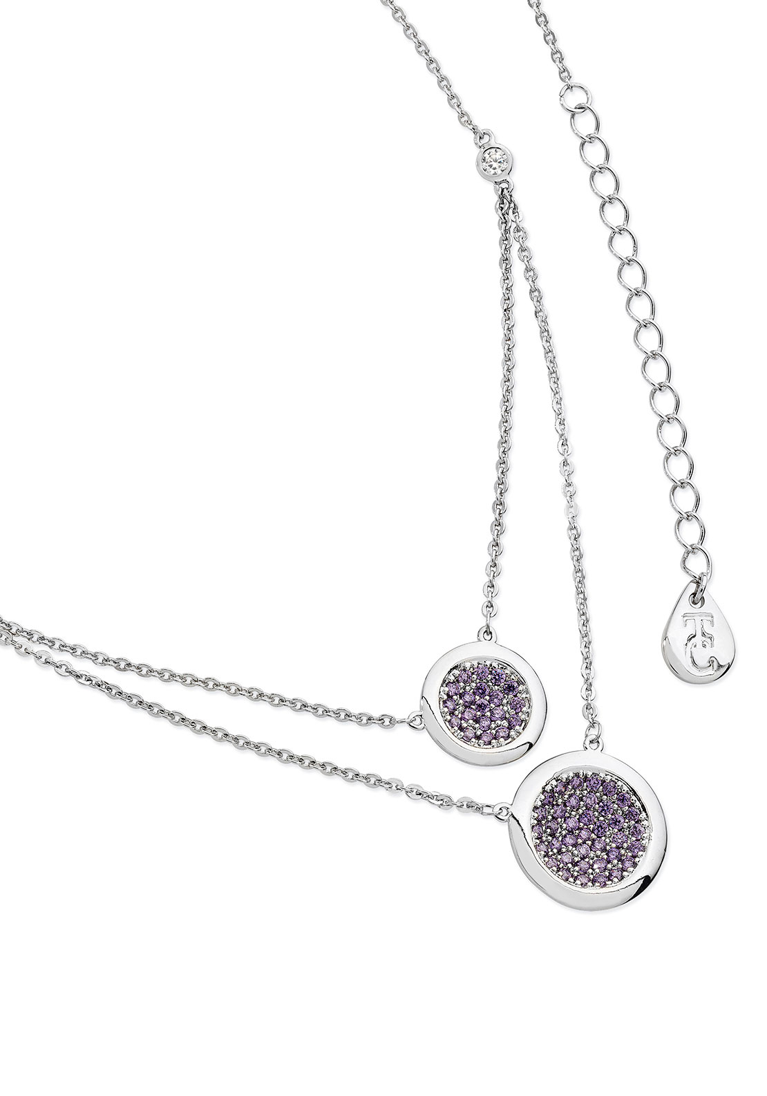 Tipperary Crystal Lavender Double Moon Drop Necklace