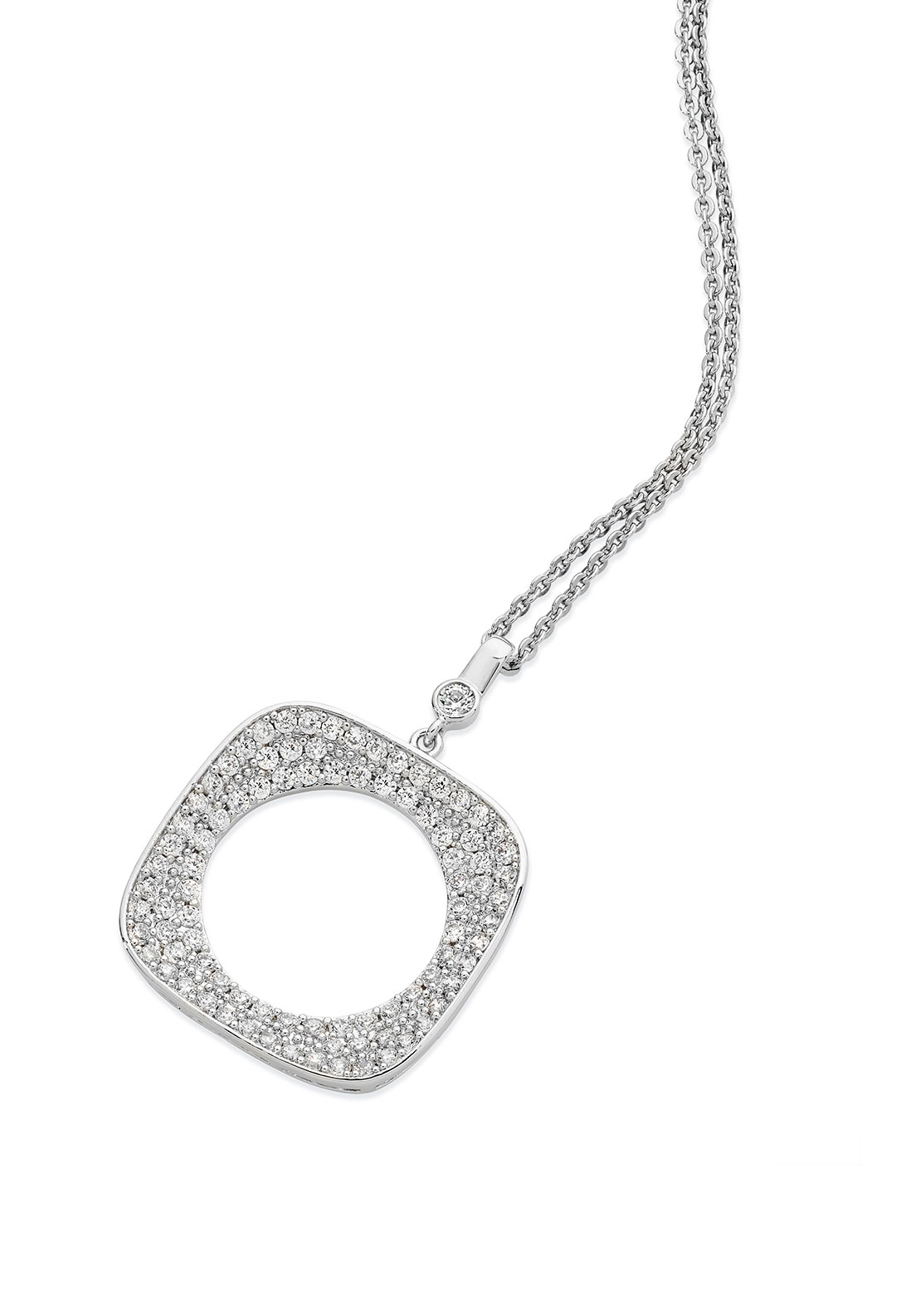 Tipperary Crystal Square Pave Moon Necklace