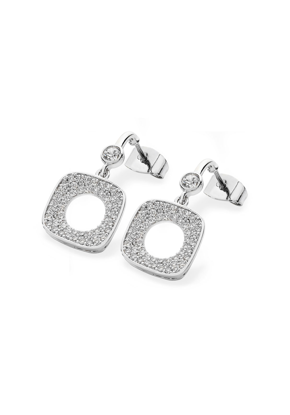 Tipperary Crystal Square Pave Moon Earrings, Silver