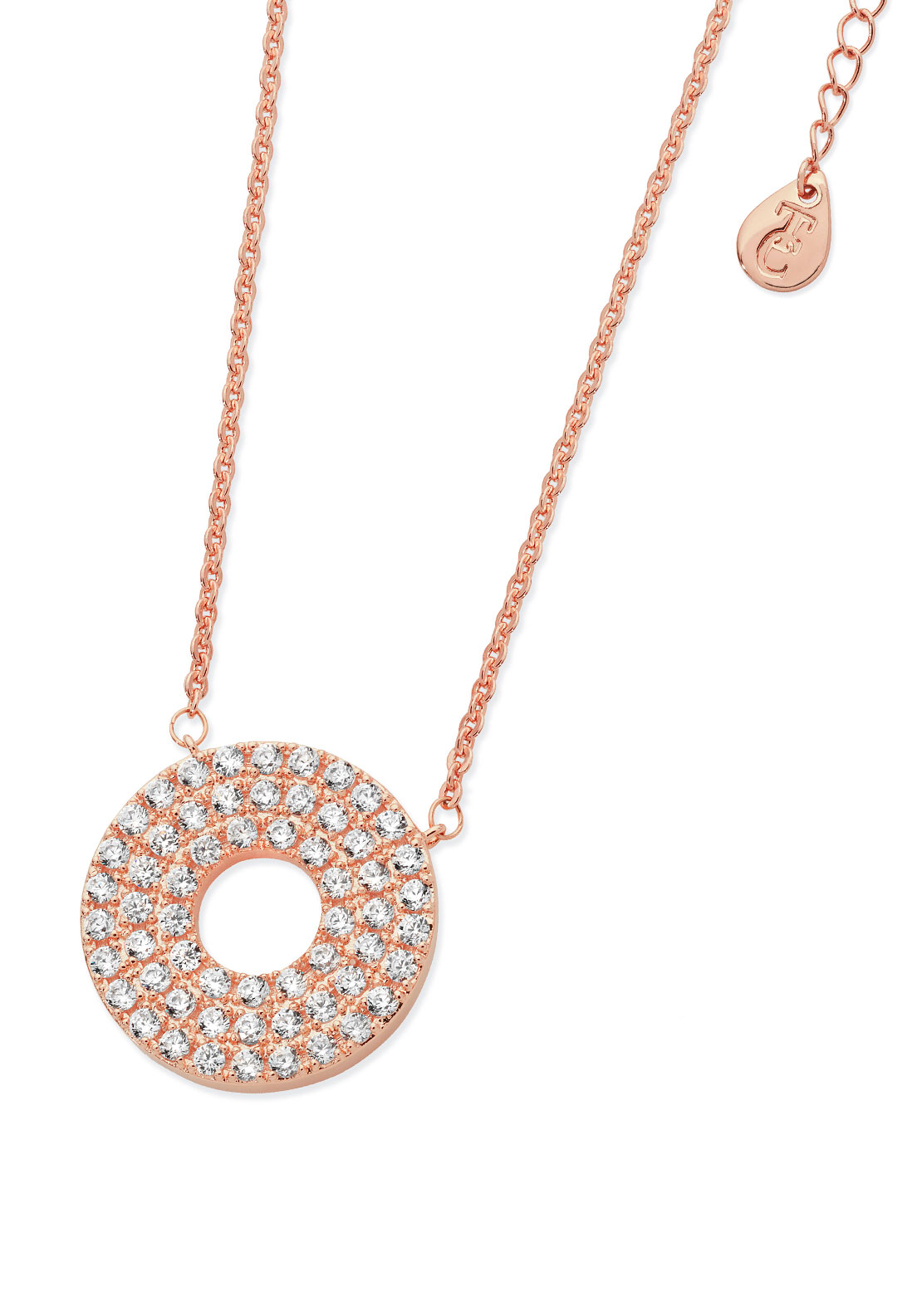Tipperary Crystal Triple Band Moon Necklace, Rose Gold