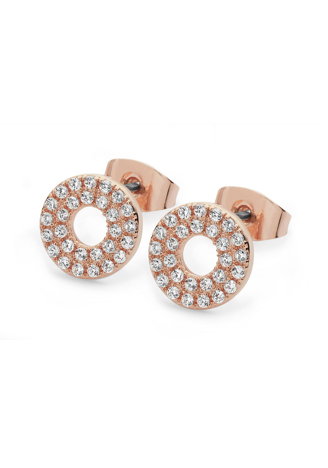 Tipperary Crystal Pave Triple Band Moon Earrings