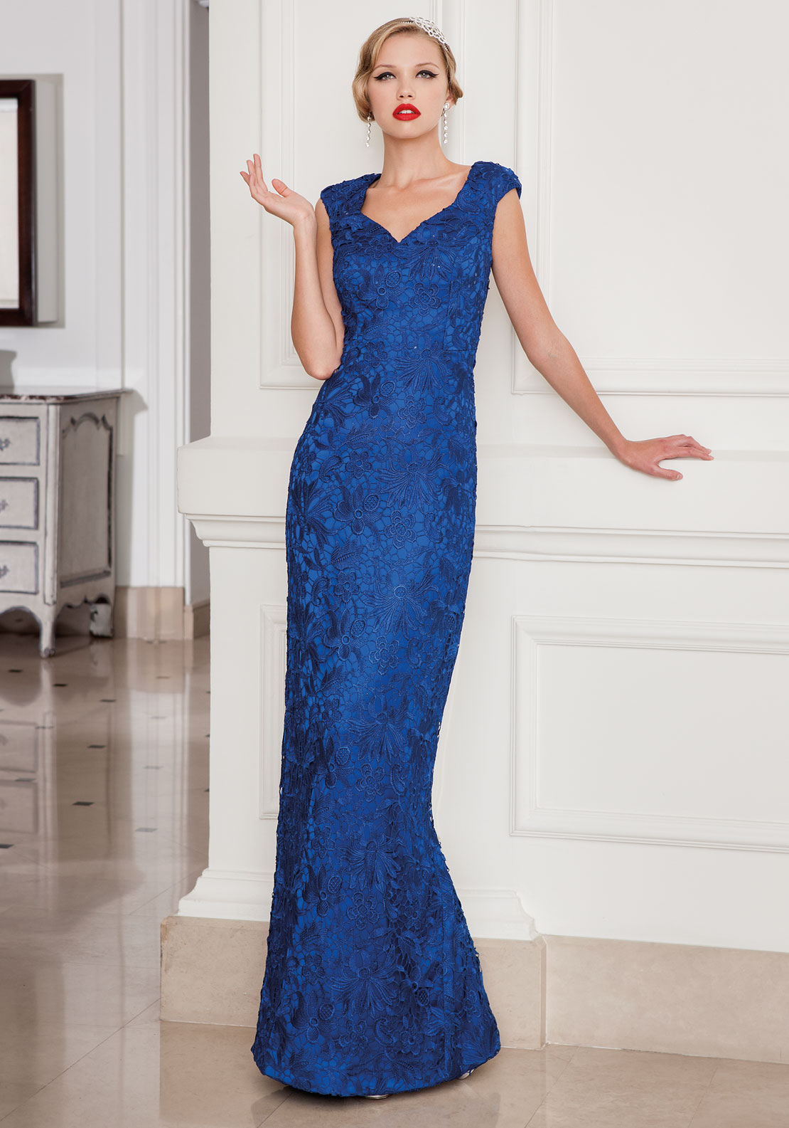 Sonia Pena 1160012 Royal Blue Floor Length Lace Dress