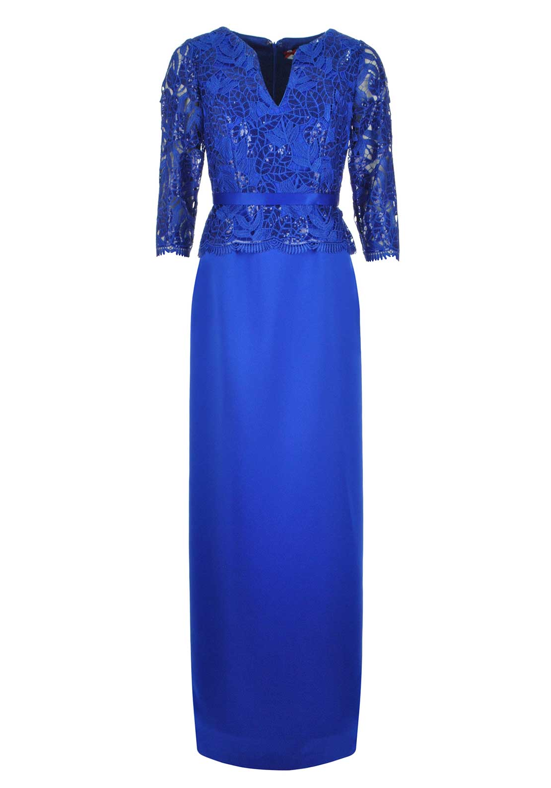 Sonia Pena Sequin Embellished Lace Overlay Full Length Dress, Royal Blue