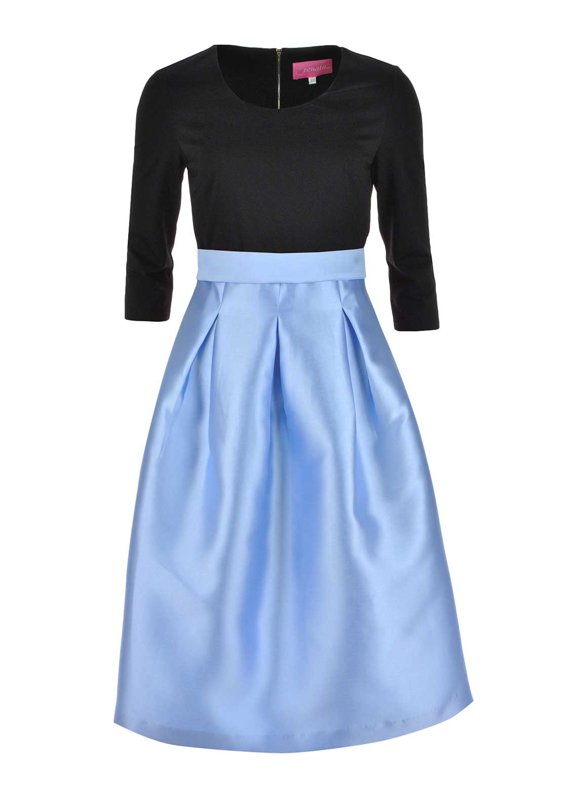 Renata Fit and Flare Midi Dress Black and Blue