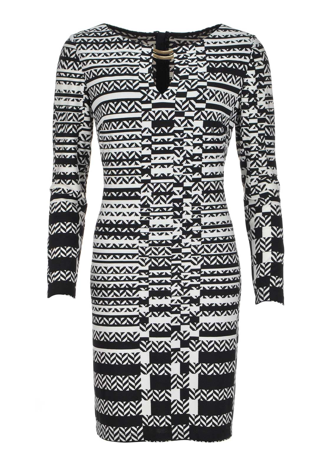 Joseph Ribkoff Geometric Print Long Sleeve Tunic Dress, Black and Cream