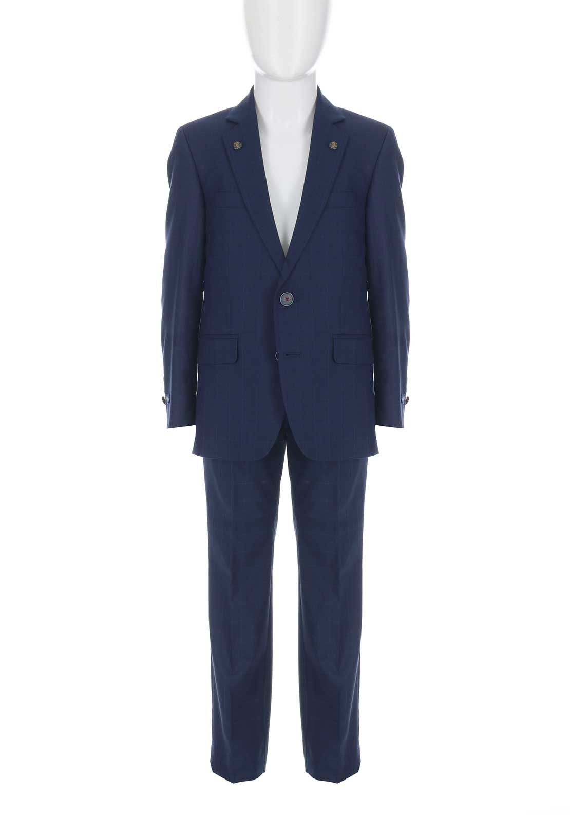 1880 Club Boys Chequered Two Piece Suit, Navy