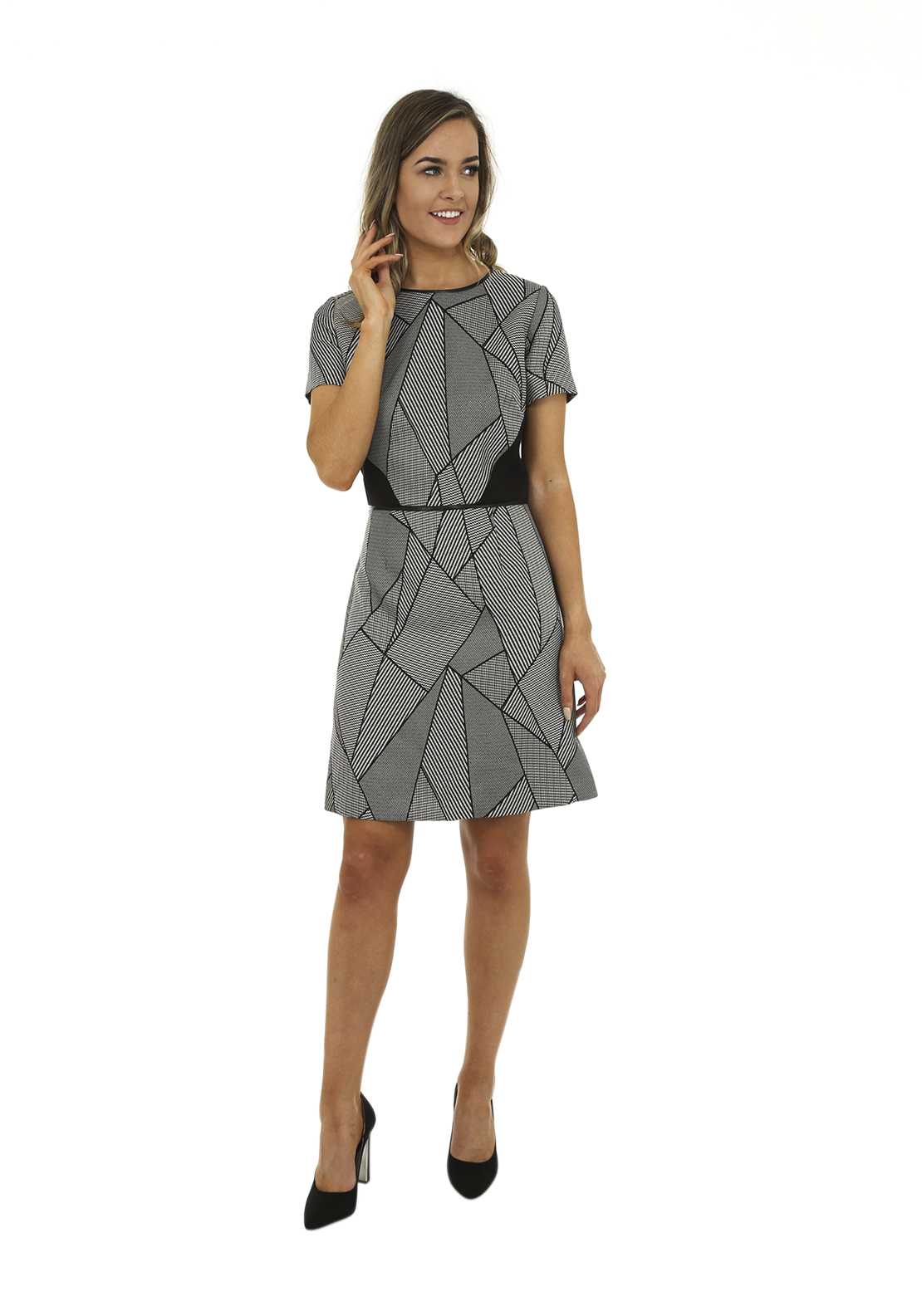 Tahari by Arthur S. Levine Geometric Print Dress, Grey