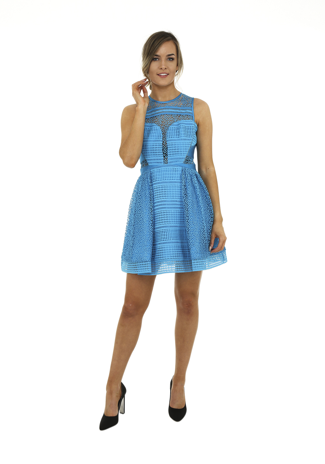 Three Floor Aquarius Cut Out Lace Fit and Flare Mini Dress, Aqua Blue