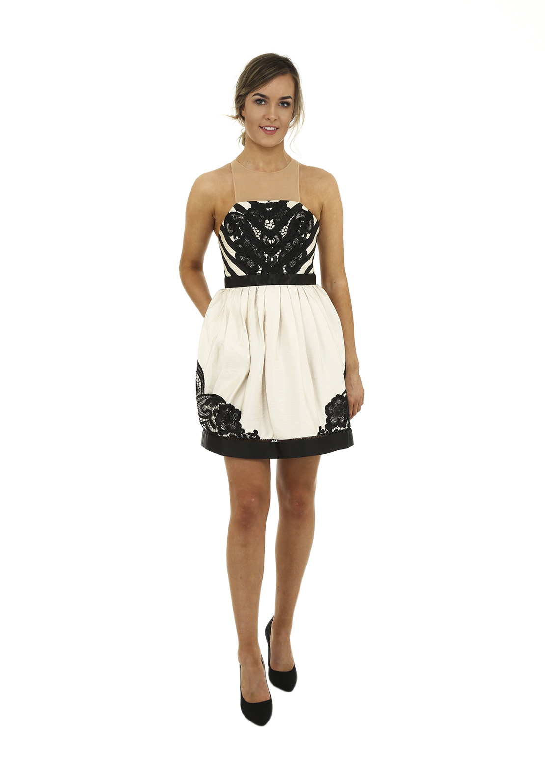 Three Floor Full Bloom Skater Style Mini Dress, Black and Cream