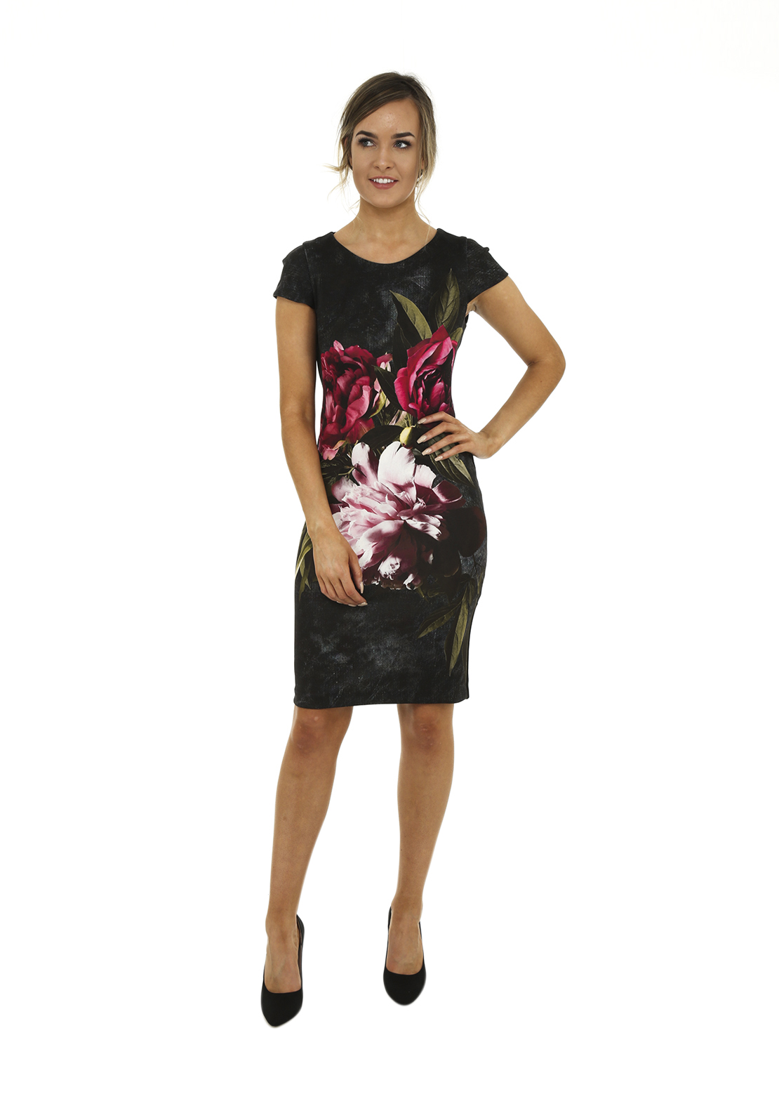 Rinascimento Floral Print Cap Sleeve Bodycon Dress, Black Multi