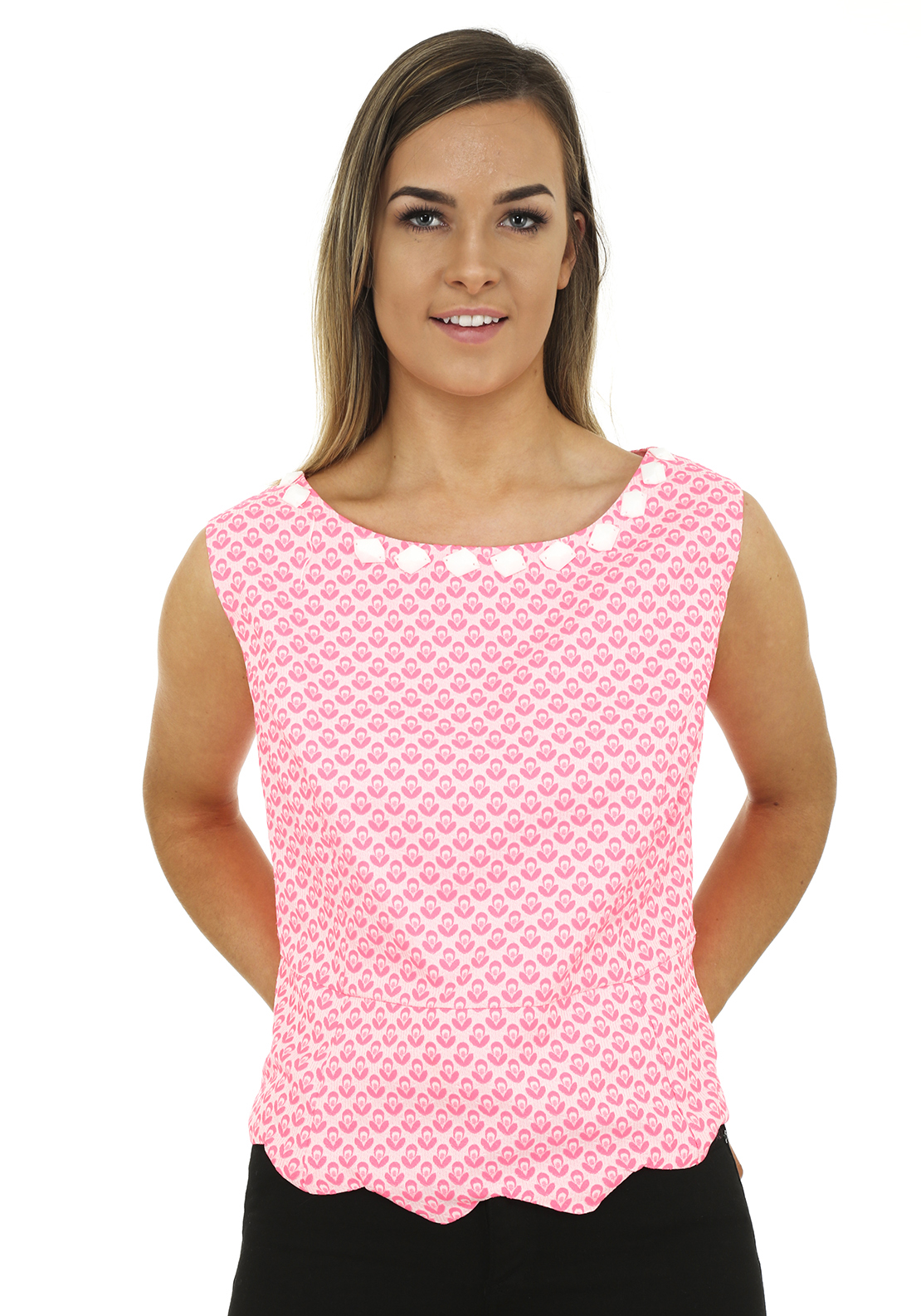 Daisy May Retro Print Embellished Crop Top, Pink