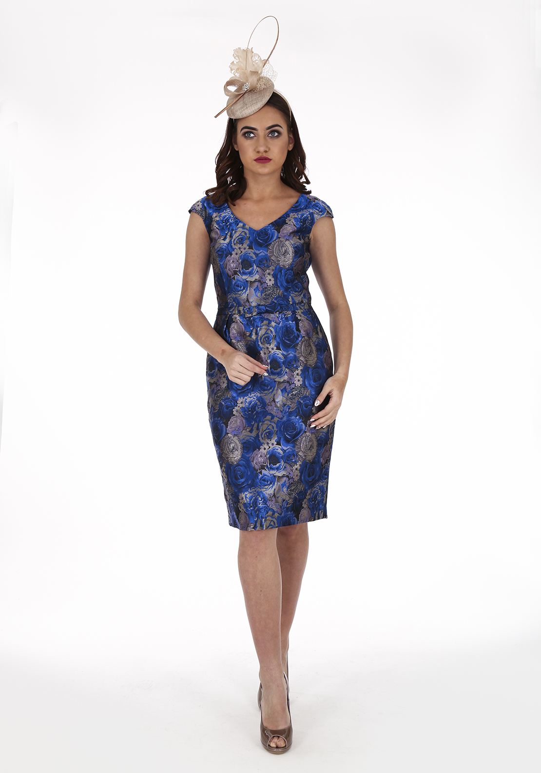 Aideen Bodkin Zelo Rose Print Dress, Blue