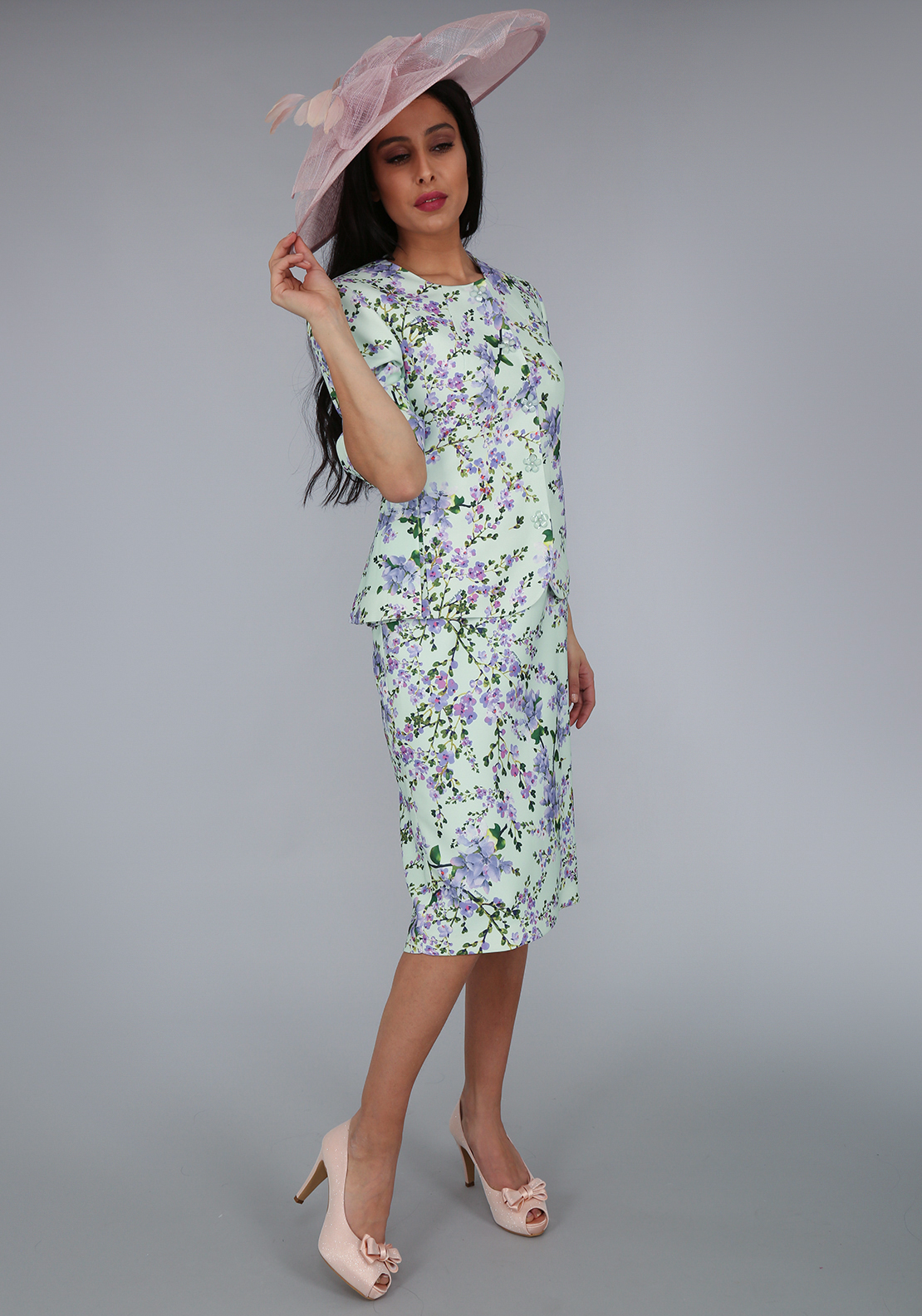 Umit Kutluk Floral Print Dress and Jacket Outift, Mint Green