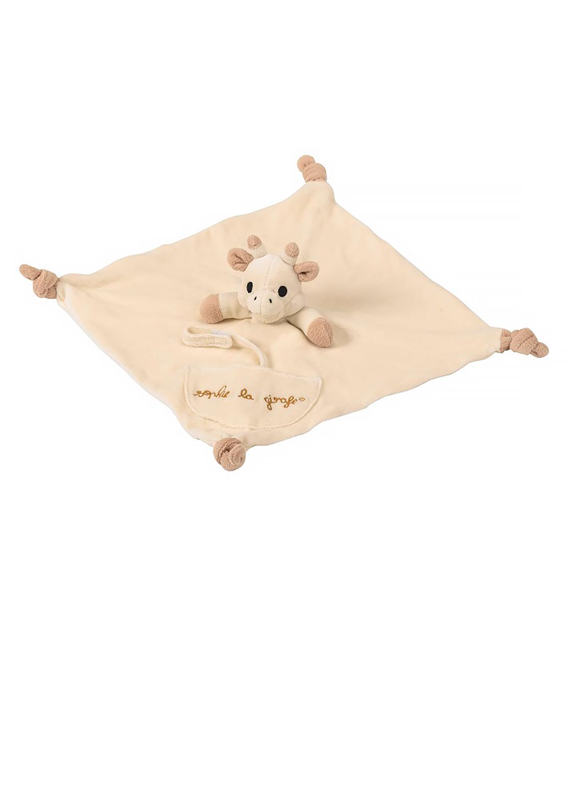 Sophie La Girafe Baby Comforter with Soother Holder, Cream