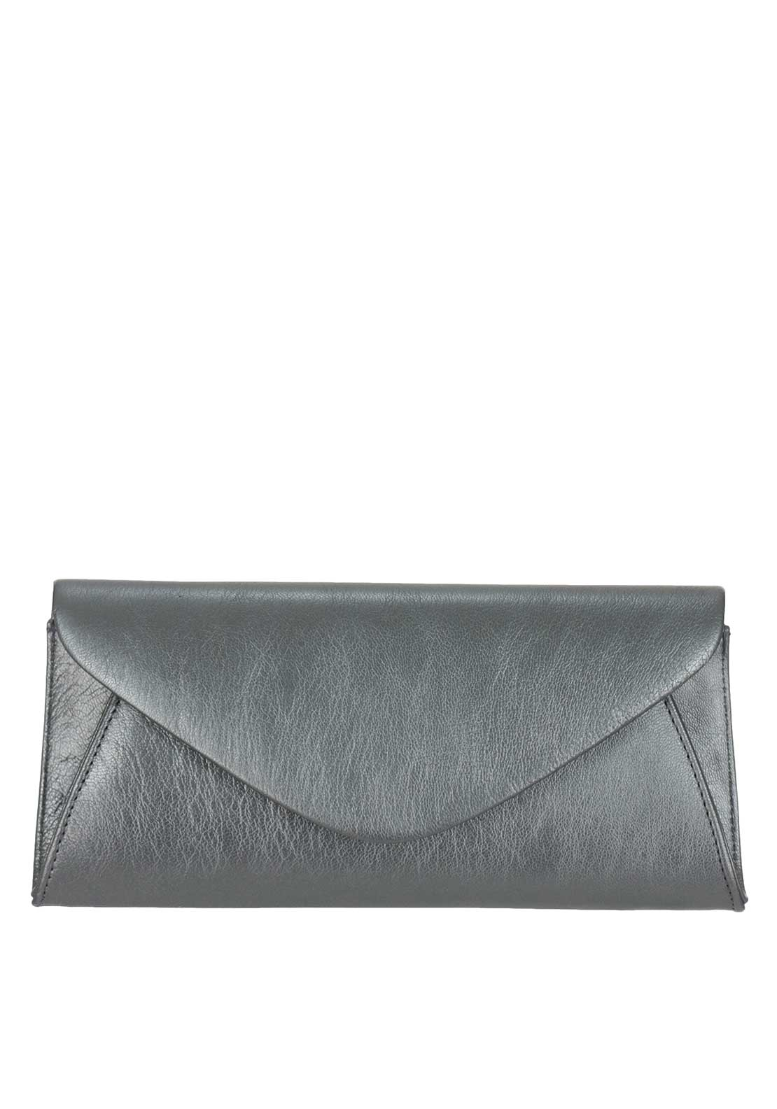 Marian Leather Envelope Clutch Bag, Metallic Silver