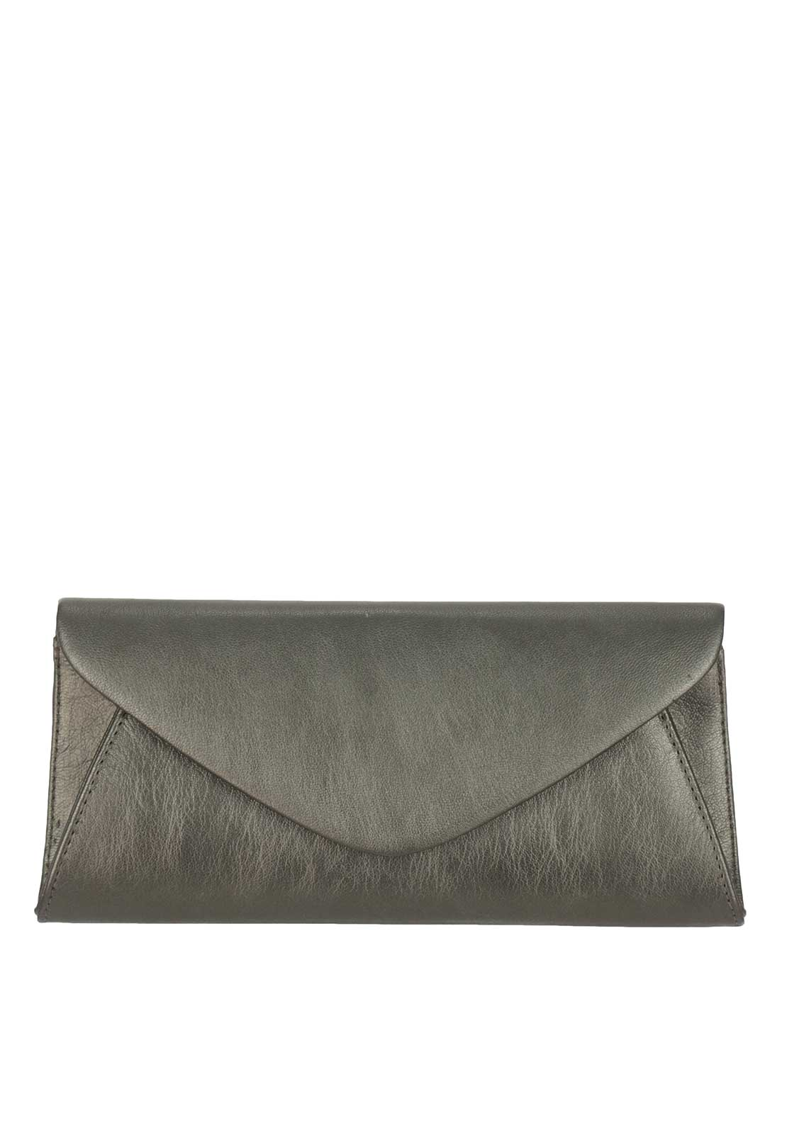 Marian Leather Envelope Clutch Bag, Pewter
