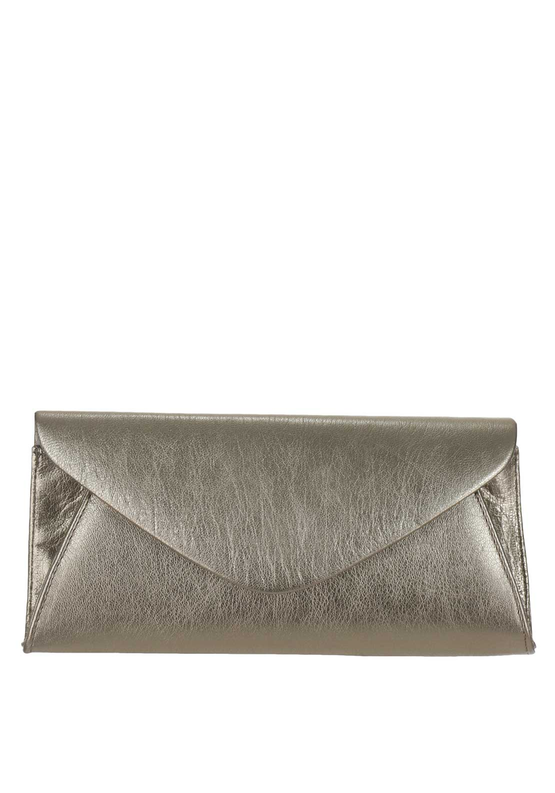 Marian Leather Envelope Clutch Bag, Gold