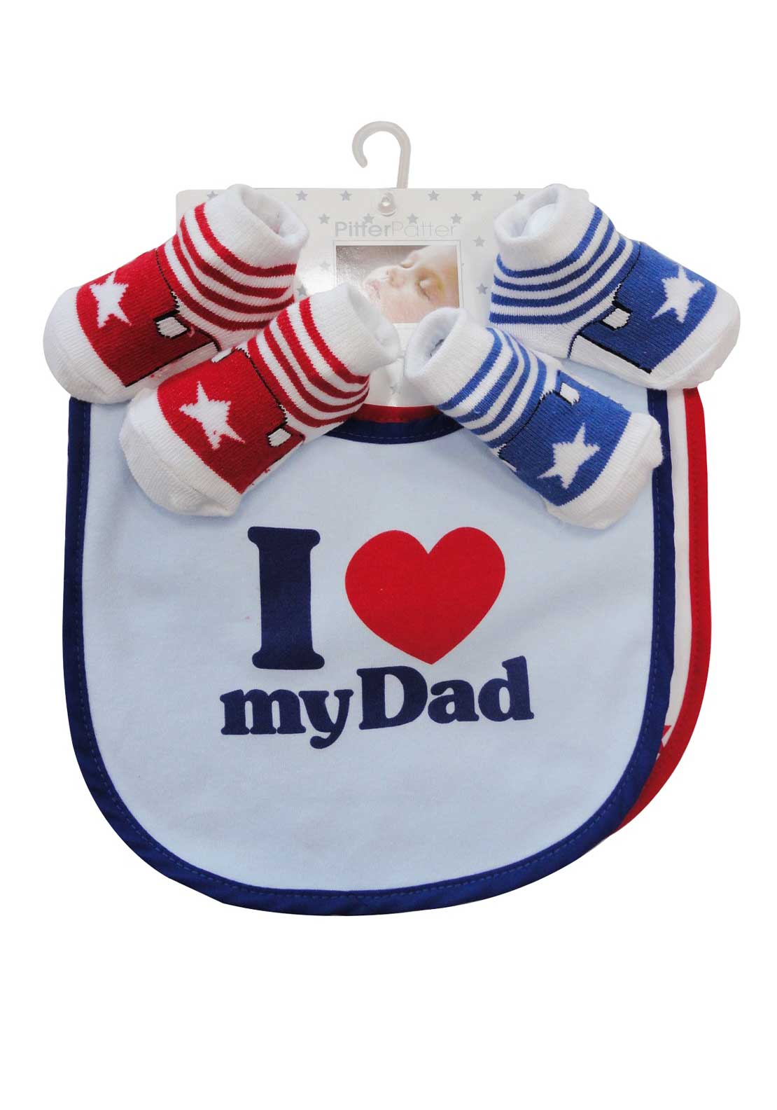 Pitter Patter I Love Daddy Bibs and Socks Set, Blue