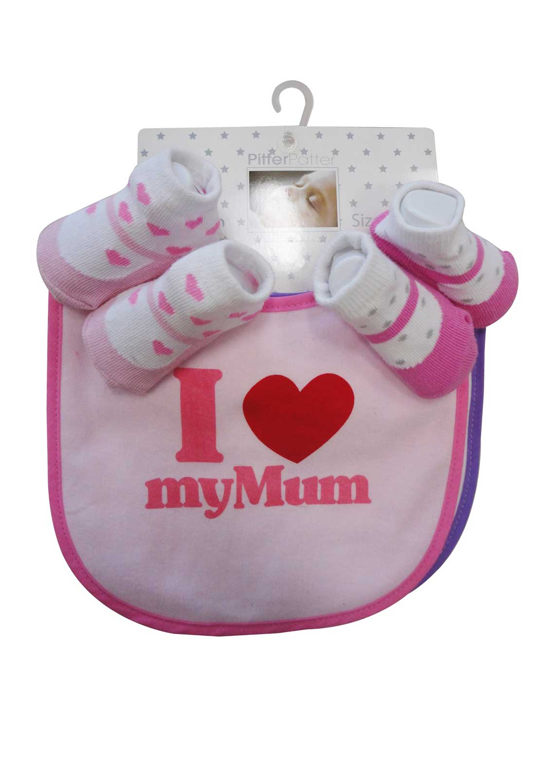 Pitter Patter I Love My Mum Bibs and Socks Set, Pink
