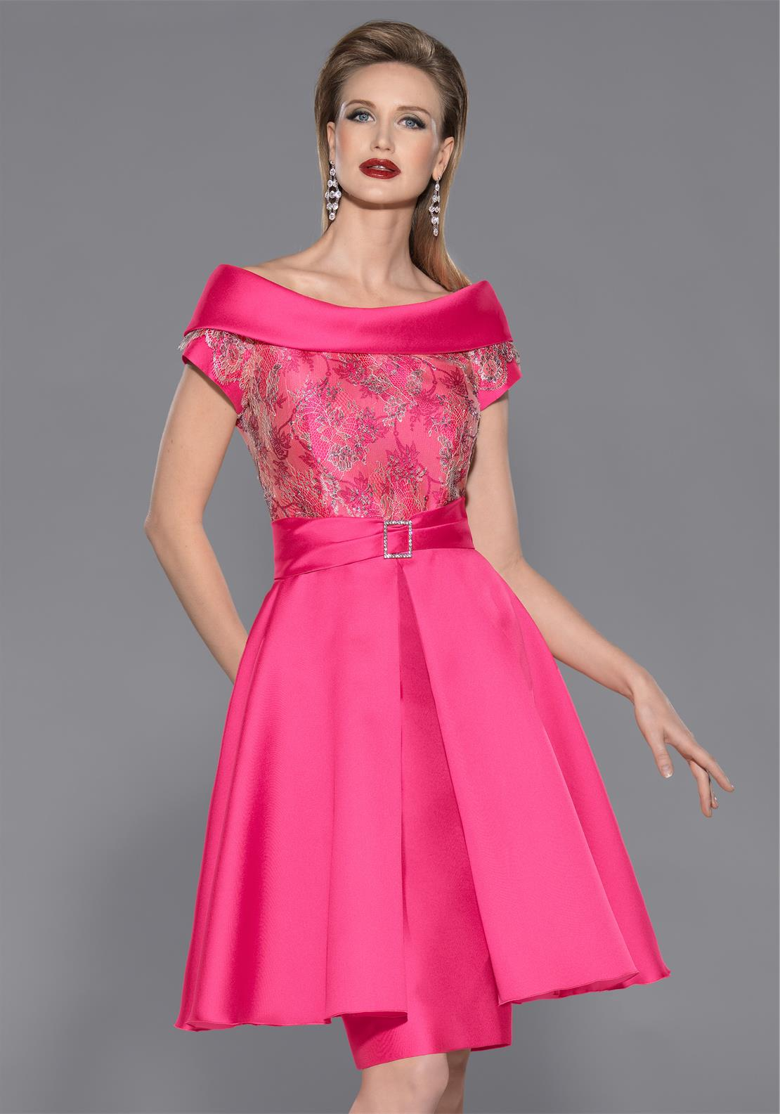 Teresa Ripoll Embroidered Bodice Overlay Pencil Dress, Hot Pink