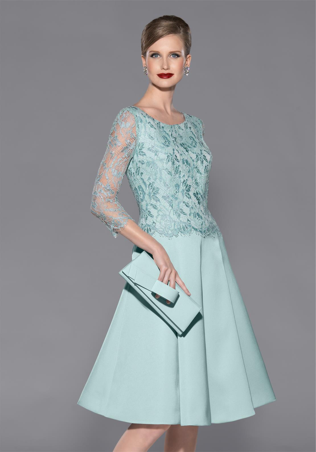 Teresa Ripoll Lace Overlay Fit and Flare Dress, Mint