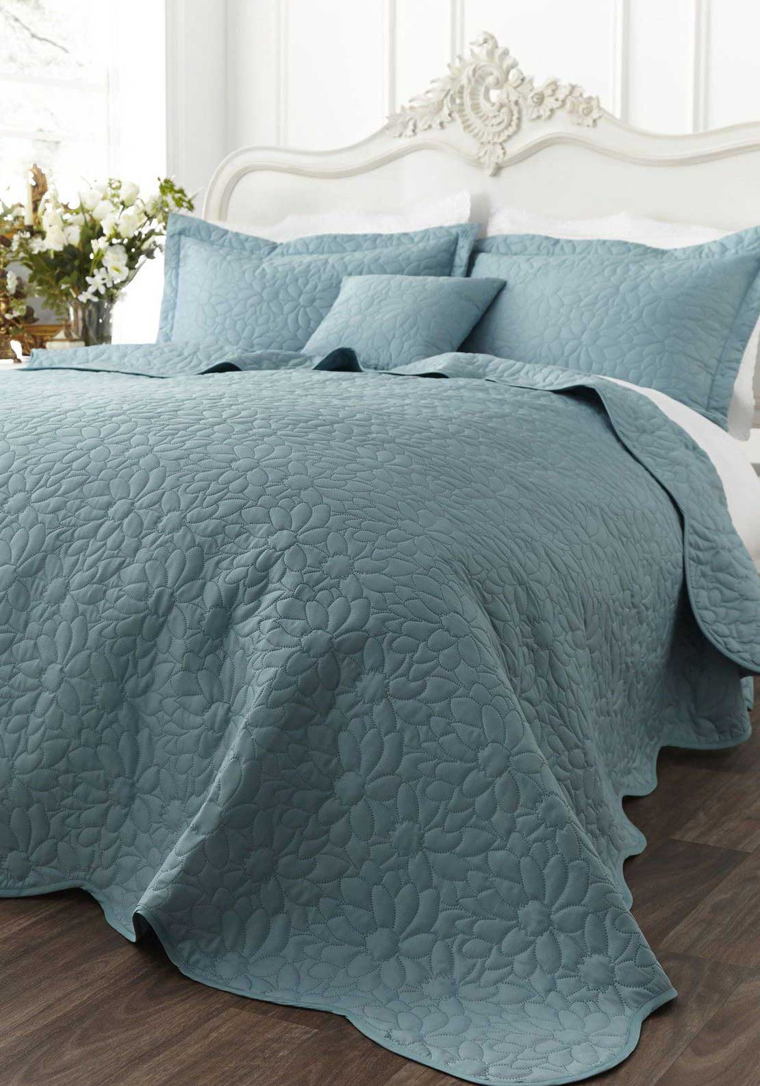Catherine Lansfield Home Floral Generic Bedspread, Duck Egg