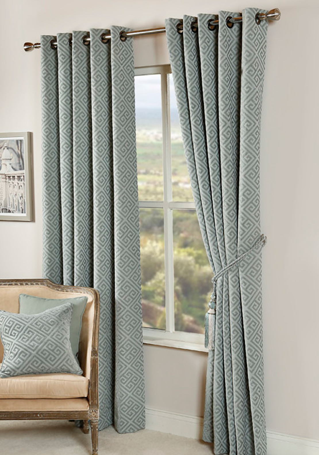 Scatterbox Greek Key Fully Lined Ready-Made curtains, 90 x90in Duckegg