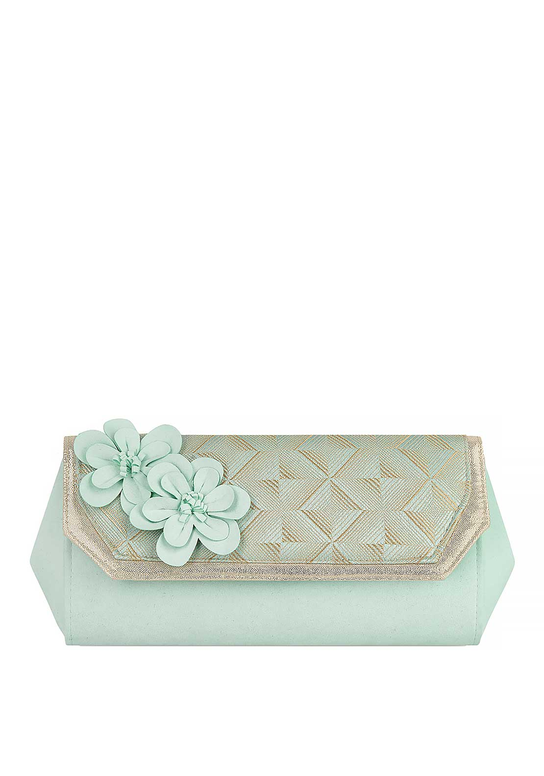 Ruby Shoo Stockholm Flower Shimmer Clutch Bag, Mint and Gold