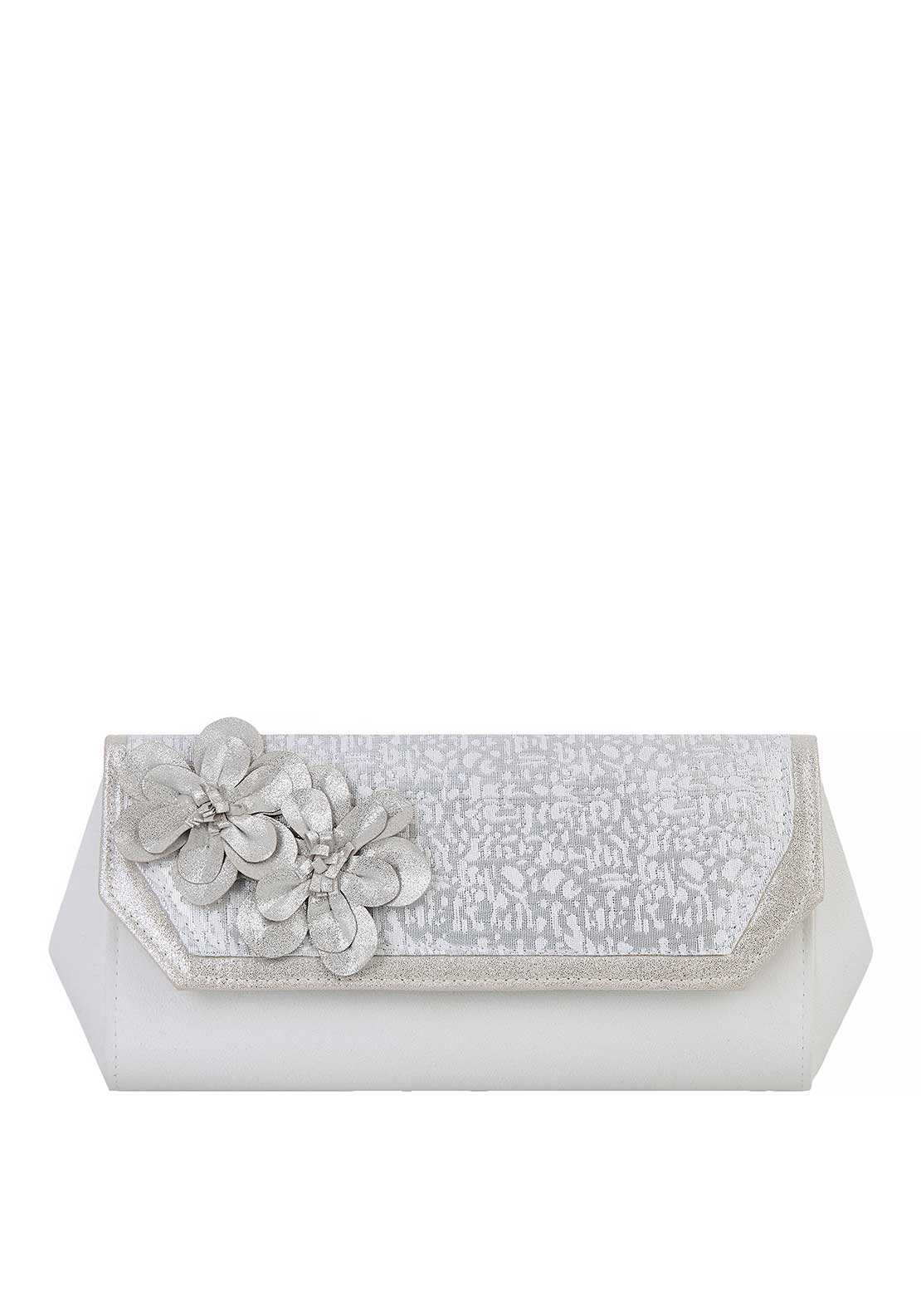 Ruby Shoo Stockholm Flower Shimmer Clutch Bag, Silver and Cream