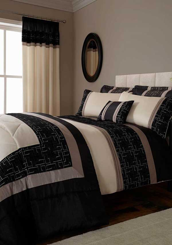 Catherine Lansfield Home Signature Collection Geo Embellished Bedspread, Black