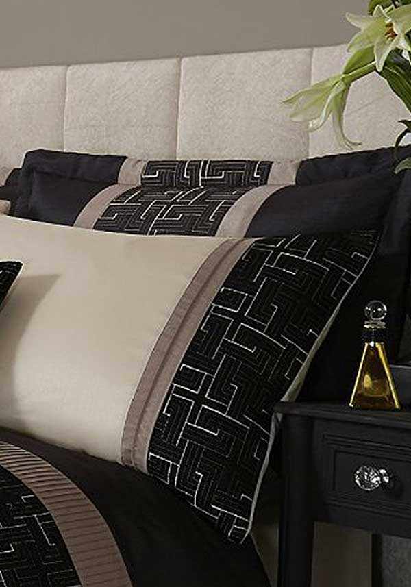 Catherine Lansfield Home Signature Collection Geo Embellished Pillow Shams, Black