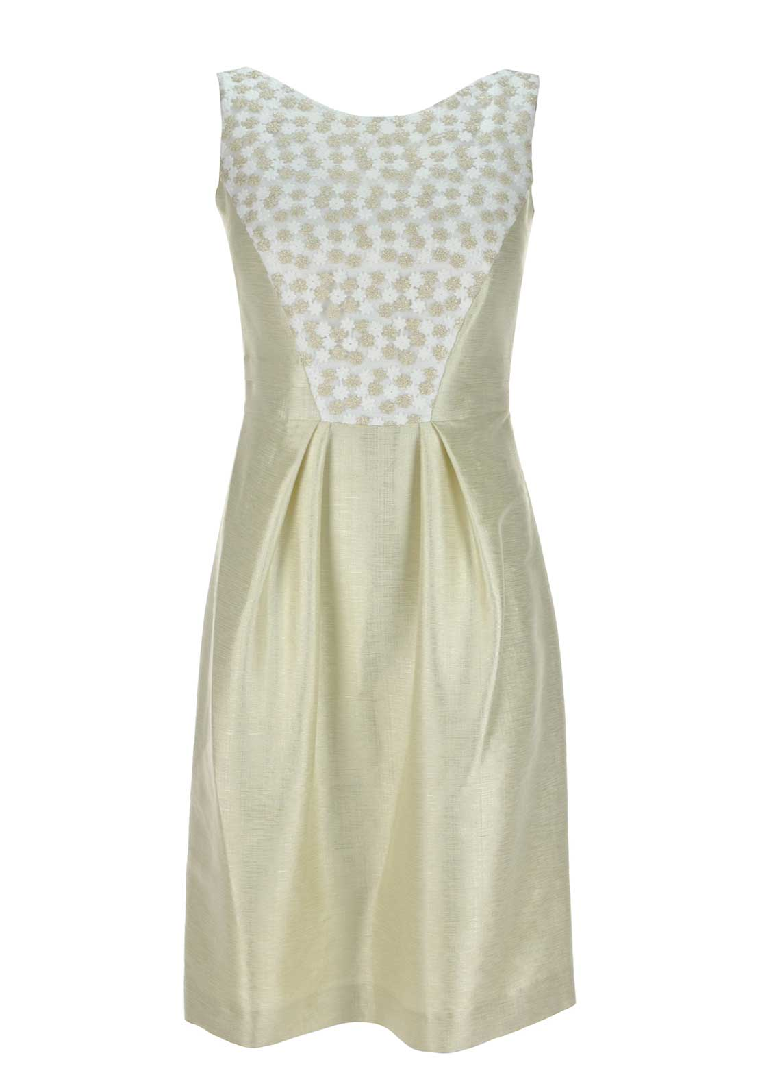 Laura Bernal Pencil Dress, Cream & Gold