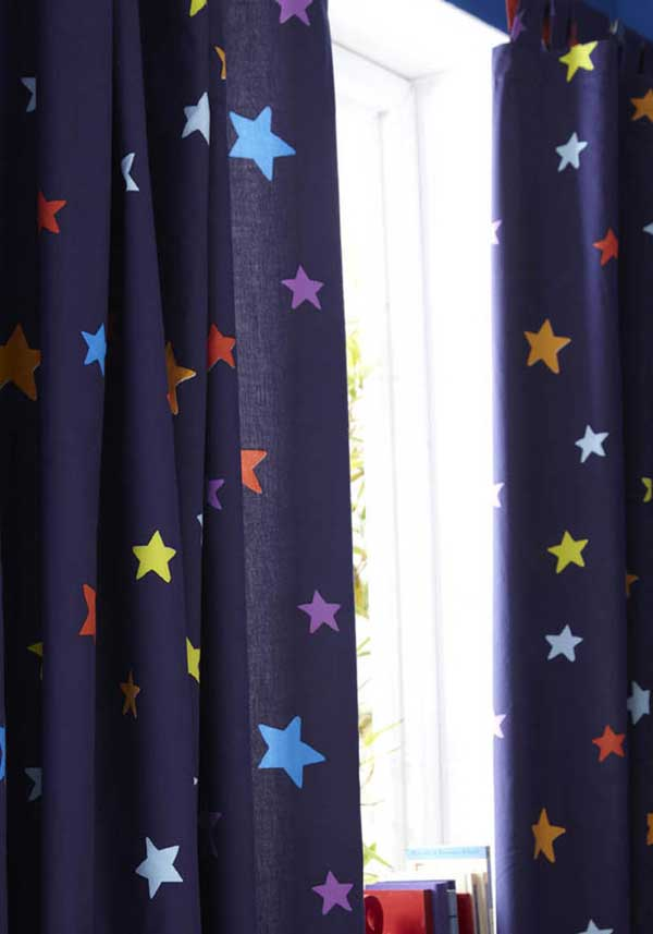 Catherine Lansfield Home Multi Star Curtains, Navy, 66 x 72""