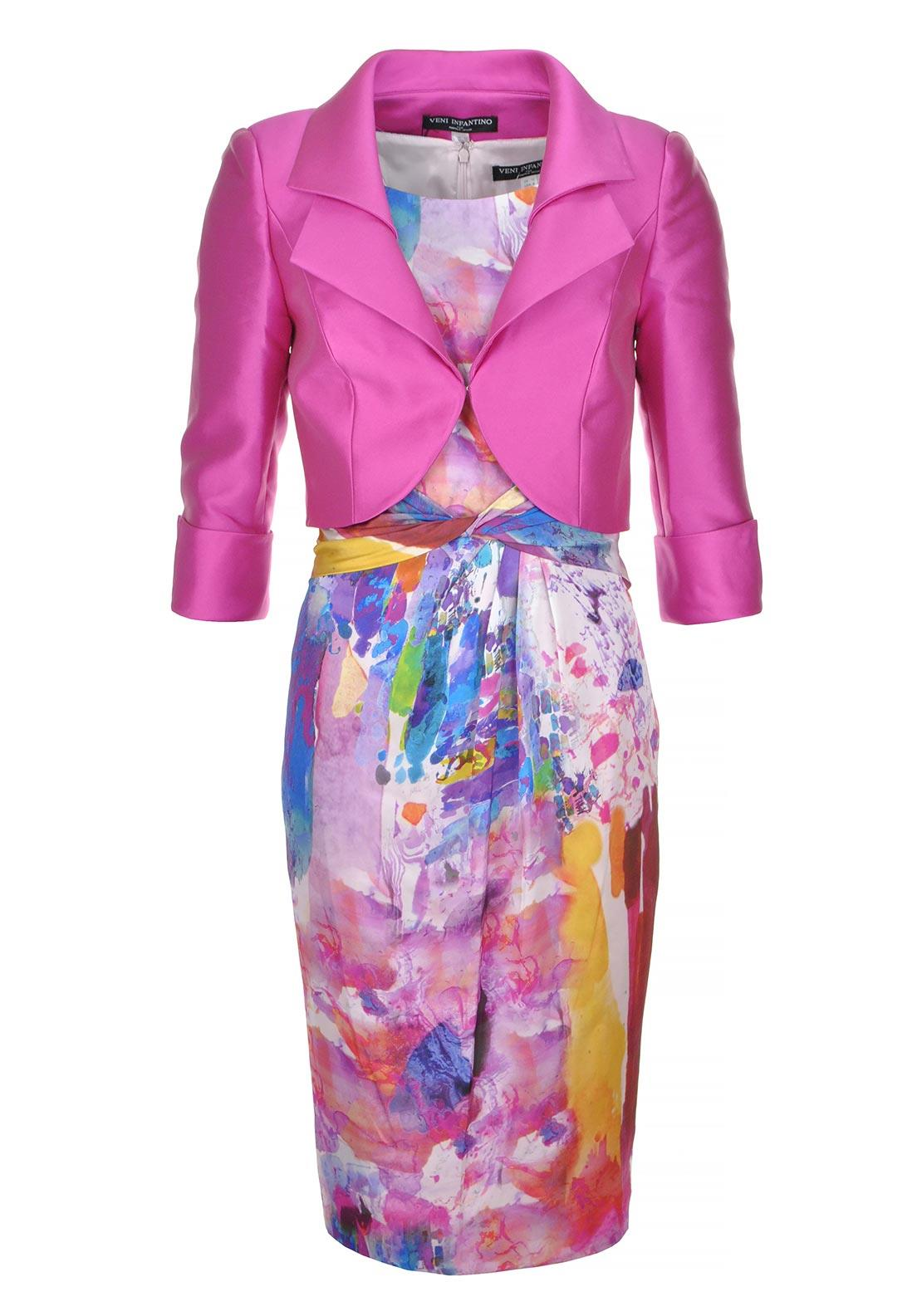 Veni Infantino for Ronald Joyce Special Occasion Dress and Jacket, Pink Multi