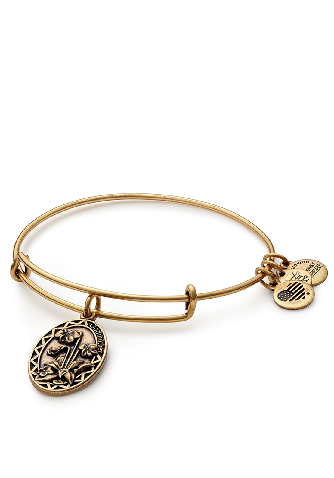 Alex and Ani Because I Love You Godmother Bangle Gold