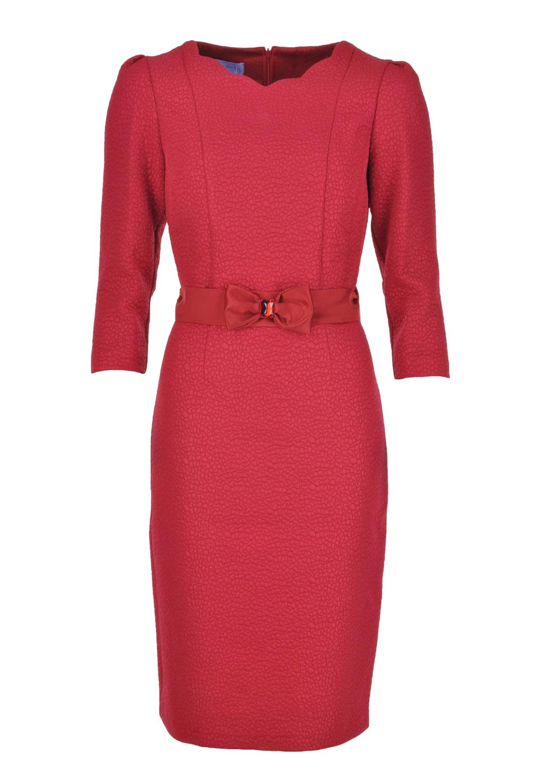 Anoola Embossed Dress with Embellished Belt, Red