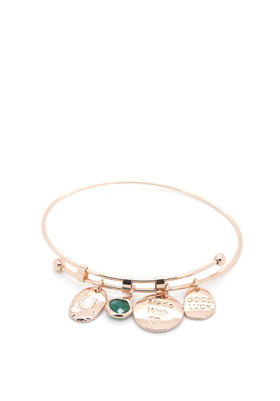 Absolute Jewellery Good Luck Bangle, Rose Gold