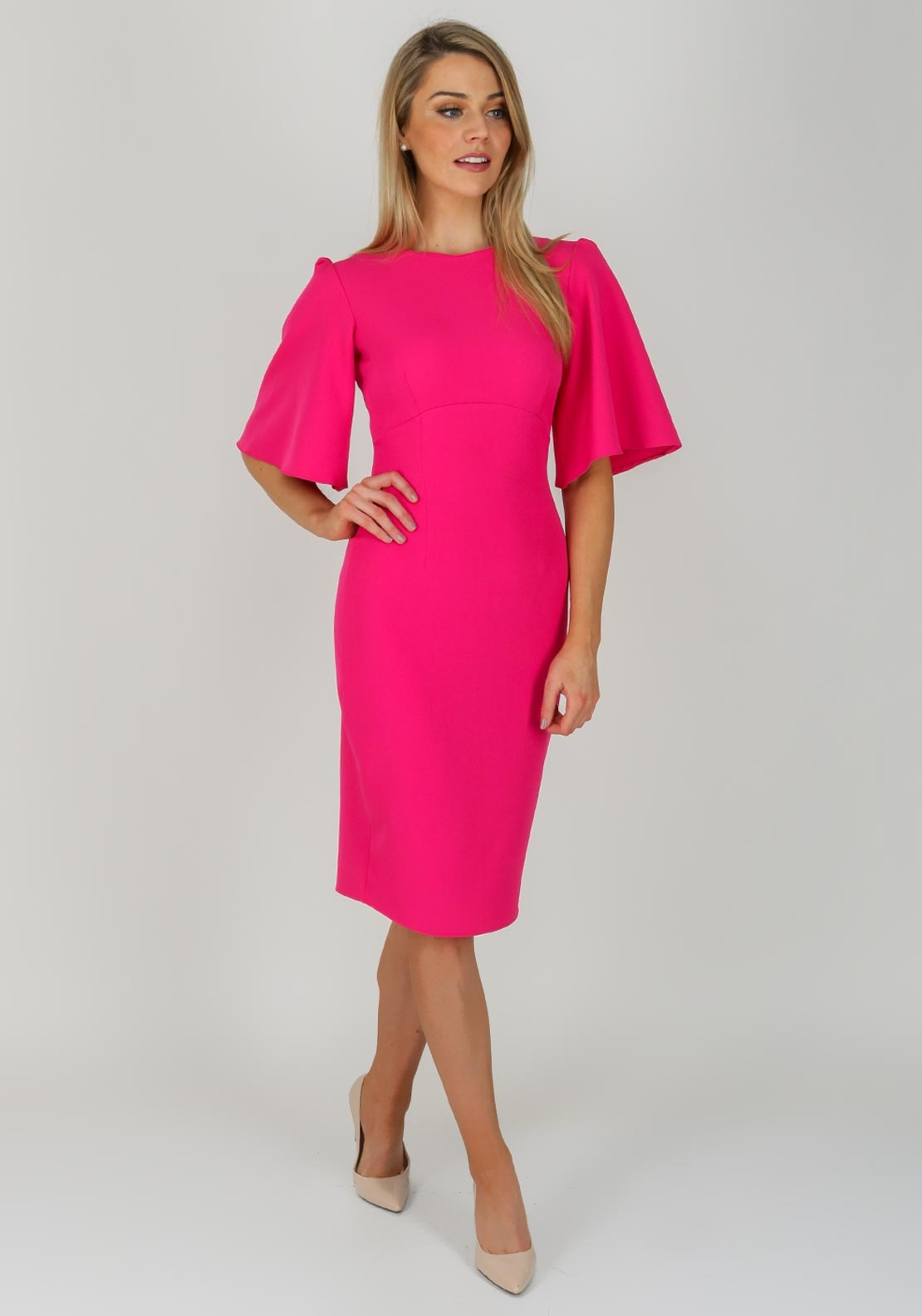 Boutique Wide Sleeve Pencil Dress, Pink