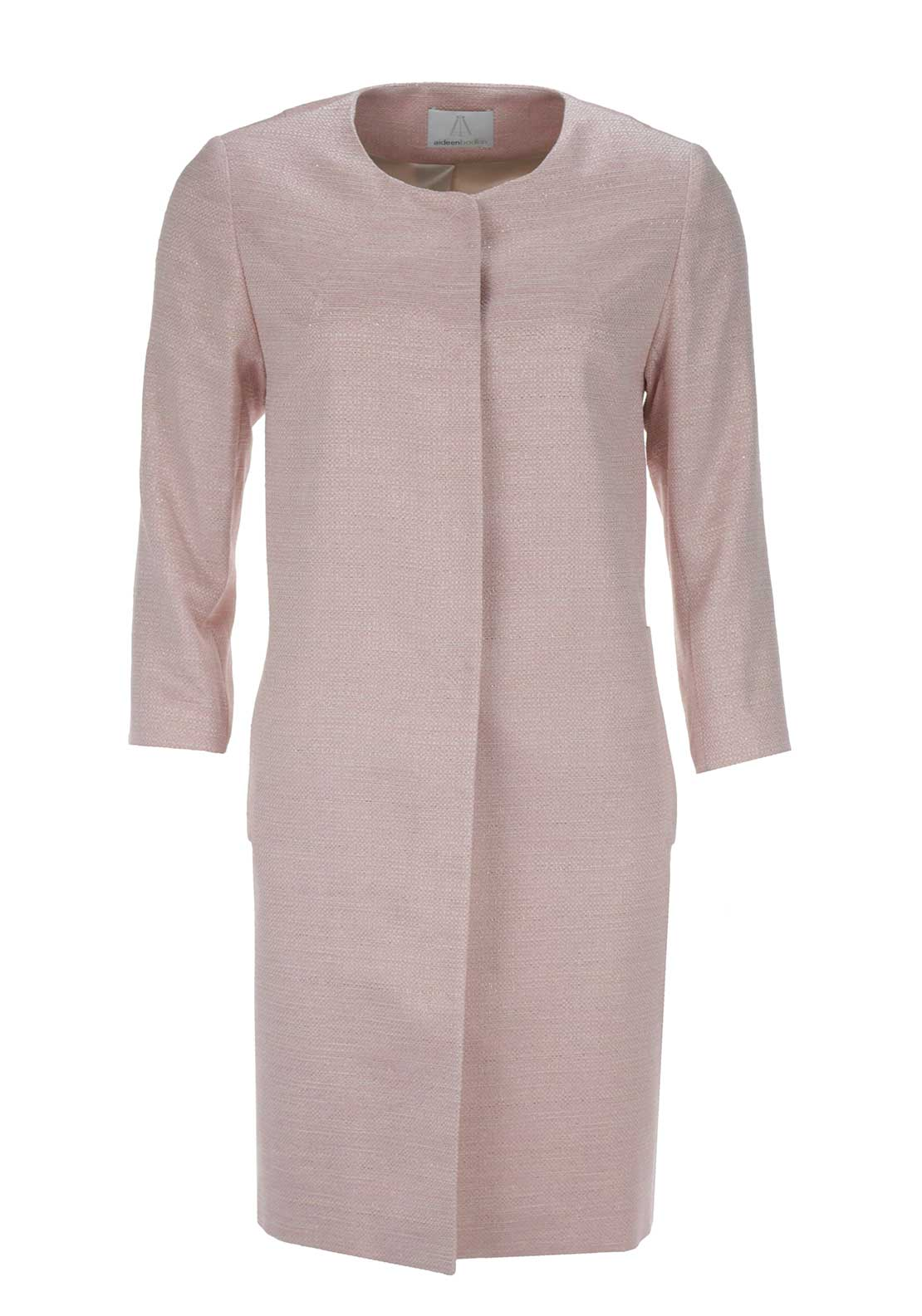 Aideen Bodkin Uno Metallic Sparkle Coat, Pink